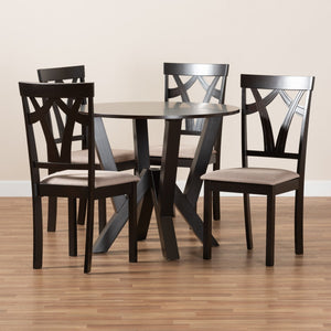 Baxton Studio Reagan Modern and Contemporary Sand Fabric Upholstered and Dark Brown Finished Wood 5-Piece Dining Set