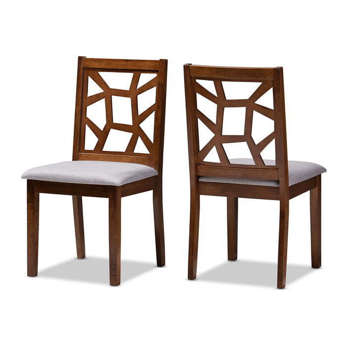 Baxton Studio Abilene Mid-Century Grey Fabric Upholstered and Walnut Brown Finished Dining Chair Set of 2 Baxton Studio-dining chair-Minimal And Modern - 1