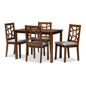 Baxton Studio Abilene Mid-Century Walnut Finished and Grey Fabric Upholstered 5-Piece Dining Set Baxton Studio-0-Minimal And Modern - 1