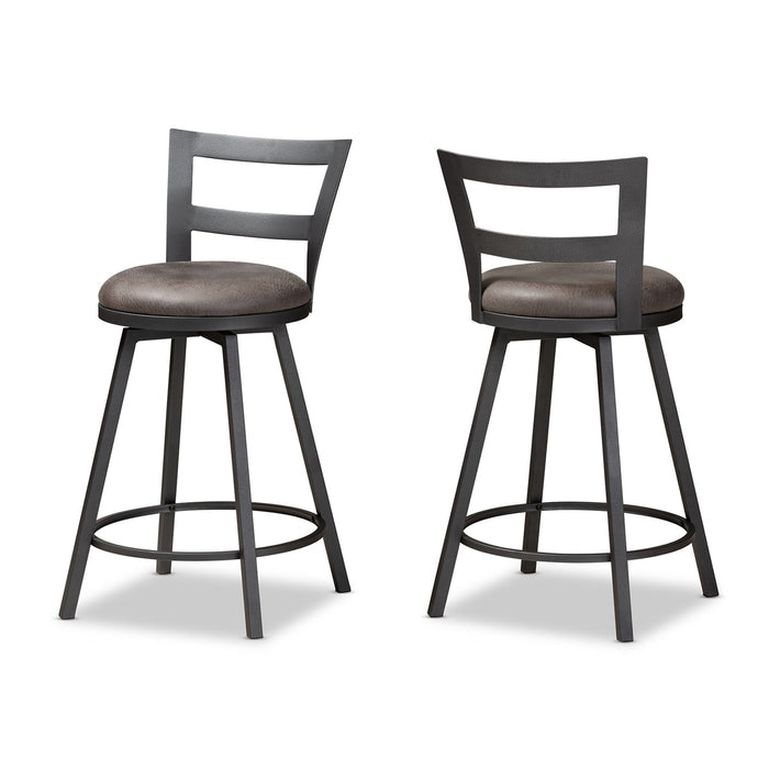Baxton Studio Arjean Rustic and Industrial Grey Fabric Upholstered Counter Stool Set of 2 Baxton Studio-0-Minimal And Modern - 1
