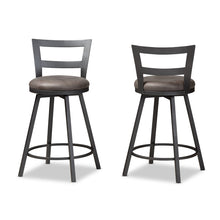 Baxton Studio Arjean Rustic and Industrial Grey Fabric Upholstered Counter Stool Set of 2 Baxton Studio-0-Minimal And Modern - 2