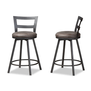 Baxton Studio Arjean Rustic and Industrial Grey Fabric Upholstered Counter Stool Set of 2 Baxton Studio-0-Minimal And Modern - 3