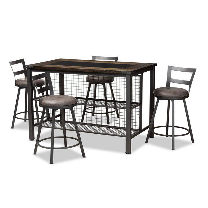 Baxton Studio Arjean Rustic and Industrial Grey Fabric Upholstered 5-Piece Pub Set Baxton Studio-0-Minimal And Modern - 1
