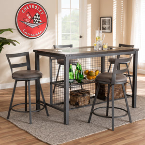 Baxton Studio Arjean Rustic and Industrial Grey Fabric Upholstered 5-Piece Pub Set Baxton Studio-0-Minimal And Modern - 4