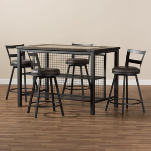 Baxton Studio Arjean Rustic and Industrial Grey Fabric Upholstered 5-Piece Pub Set Baxton Studio-0-Minimal And Modern - 5