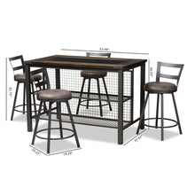 Baxton Studio Arjean Rustic and Industrial Grey Fabric Upholstered 5-Piece Pub Set Baxton Studio-0-Minimal And Modern - 6