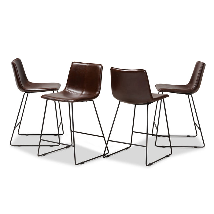Wholesale Interiors Cognac Dark Brown Leather Bar Stool: Minimal & Modern