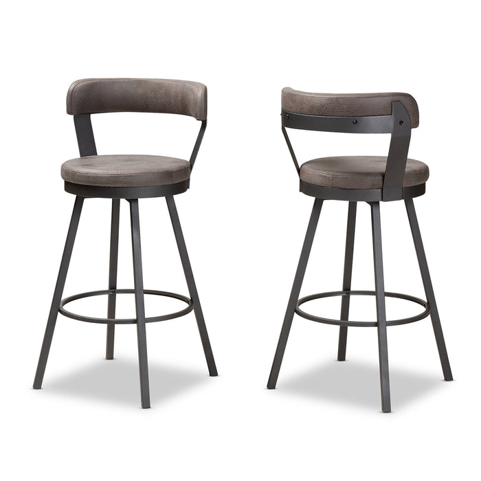 Baxton Studio Arcene Rustic and Industrial Grey Fabric Upholstered Counter Stool Set of 2 Baxton Studio-0-Minimal And Modern - 1