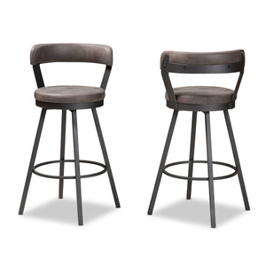 Baxton Studio Arcene Rustic and Industrial Grey Fabric Upholstered Counter Stool Set of 2 Baxton Studio-0-Minimal And Modern - 2