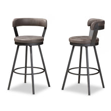 Baxton Studio Arcene Rustic and Industrial Grey Fabric Upholstered Counter Stool Set of 2 Baxton Studio-0-Minimal And Modern - 3