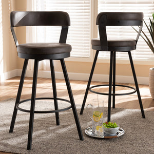 Baxton Studio Arcene Rustic and Industrial Grey Fabric Upholstered Counter Stool Set of 2 Baxton Studio-0-Minimal And Modern - 5