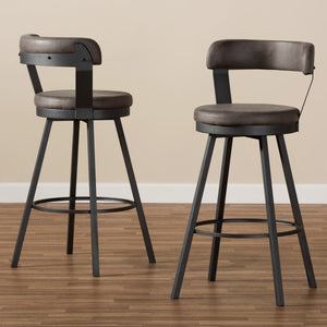 Baxton Studio Arcene Rustic and Industrial Grey Fabric Upholstered Counter Stool Set of 2 Baxton Studio-0-Minimal And Modern - 6