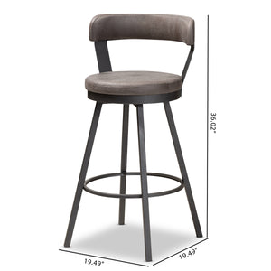 Baxton Studio Arcene Rustic and Industrial Grey Fabric Upholstered Counter Stool Set of 2 Baxton Studio-0-Minimal And Modern - 7