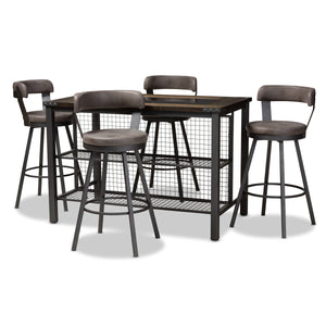 Baxton Studio Arcene Rustic and Industrial Antique Grey Fabric Upholstered 5-Piece Pub Set Baxton Studio-0-Minimal And Modern - 1