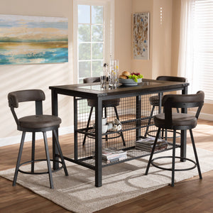 Baxton Studio Arcene Rustic and Industrial Antique Grey Fabric Upholstered 5-Piece Pub Set Baxton Studio-0-Minimal And Modern - 4