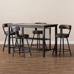 Baxton Studio Arcene Rustic and Industrial Antique Grey Fabric Upholstered 5-Piece Pub Set Baxton Studio-0-Minimal And Modern - 5