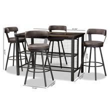 Baxton Studio Arcene Rustic and Industrial Antique Grey Fabric Upholstered 5-Piece Pub Set Baxton Studio-0-Minimal And Modern - 6