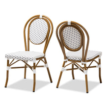Baxton Studio Gauthier Classic French Indoor and Outdoor Grey and White Bamboo Style Stackable Bistro Dining Chair Set of 2 Baxton Studio-dining chair-Minimal And Modern - 1