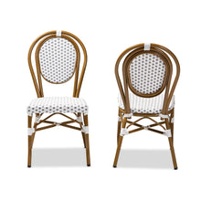Baxton Studio Gauthier Classic French Indoor and Outdoor Grey and White Bamboo Style Stackable Bistro Dining Chair Set of 2 Baxton Studio-dining chair-Minimal And Modern - 2