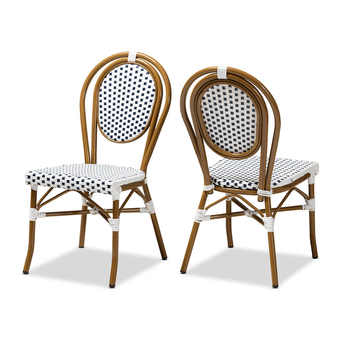 Baxton Studio Gauthier Classic French Indoor and Outdoor Navy and White Bamboo Style Bistro Stackable Dining Chair Set of 2 Baxton Studio-dining chair-Minimal And Modern - 1