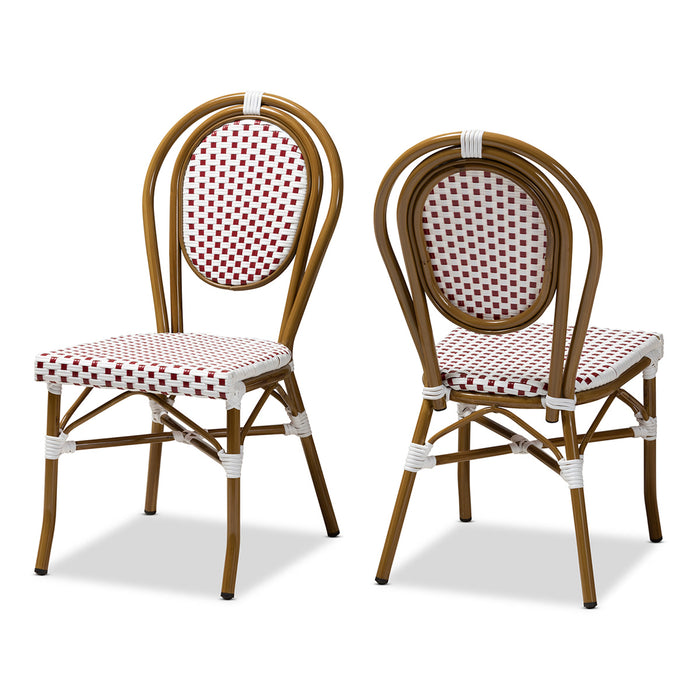 Baxton Studio Gauthier Classic French Indoor and Outdoor Red and White Bamboo Style Stackable Bistro Dining Chair Set of 2 Baxton Studio-dining chair-Minimal And Modern - 1