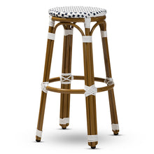 Baxton Studio Joelle Classic French Indoor and Outdoor Navy and White Bamboo Style Stackable Bistro Bar Stool  Baxton Studio-Bar Stools-Minimal And Modern - 1