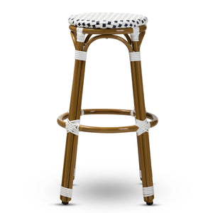 Baxton Studio Joelle Classic French Indoor and Outdoor Navy and White Bamboo Style Stackable Bistro Bar Stool  Baxton Studio-Bar Stools-Minimal And Modern - 2