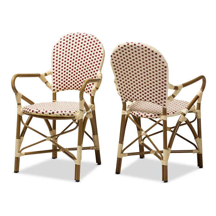 Baxton Studio Seva Classic French Indoor and Outdoor Beige and Red Bamboo Style Stackable Bistro Dining Chair Set of 2 Baxton Studio-dining chair-Minimal And Modern - 1