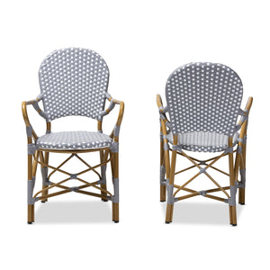 Baxton Studio Seva Classic French Indoor and Outdoor Beige and Red Bamboo Style Stackable Bistro Dining Chair Set of 2 Baxton Studio-dining chair-Minimal And Modern - 2