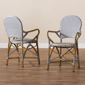 Baxton Studio Seva Classic French Indoor and Outdoor Beige and Red Bamboo Style Stackable Bistro Dining Chair Set of 2 Baxton Studio-dining chair-Minimal And Modern - 6