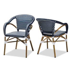 Baxton Studio Eliane Classic French Indoor and Outdoor Navy and White Bamboo Style Stackable Bistro Dining Chair Set of 2 Baxton Studio-dining chair-Minimal And Modern - 1