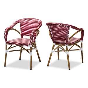 Baxton Studio Eliane Classic French Indoor and Outdoor Red and White Bamboo Style Stackable Bistro Dining Chair Set of 2 Baxton Studio-dining chair-Minimal And Modern - 1