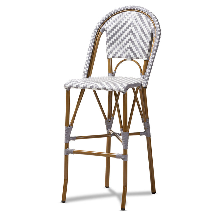 Baxton Studio Ilene Classic French Indoor and Outdoor Grey and White Bamboo Style Stackable Bistro Bar Stool  Baxton Studio-Bar Stools-Minimal And Modern - 1