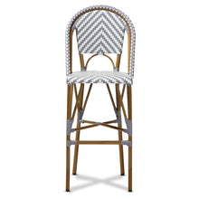 Baxton Studio Ilene Classic French Indoor and Outdoor Grey and White Bamboo Style Stackable Bistro Bar Stool  Baxton Studio-Bar Stools-Minimal And Modern - 2