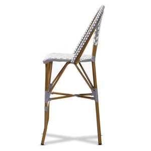 Baxton Studio Ilene Classic French Indoor and Outdoor Grey and White Bamboo Style Stackable Bistro Bar Stool  Baxton Studio-Bar Stools-Minimal And Modern - 3