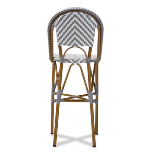 Baxton Studio Ilene Classic French Indoor and Outdoor Grey and White Bamboo Style Stackable Bistro Bar Stool  Baxton Studio-Bar Stools-Minimal And Modern - 4