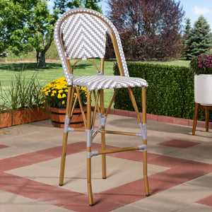 Baxton Studio Ilene Classic French Indoor and Outdoor Grey and White Bamboo Style Stackable Bistro Bar Stool  Baxton Studio-Bar Stools-Minimal And Modern - 6