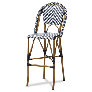 Baxton Studio Ilene Classic French Indoor and Outdoor White and Blue Bamboo Style Stackable Bistro Bar Stool  Baxton Studio-Bar Stools-Minimal And Modern - 1