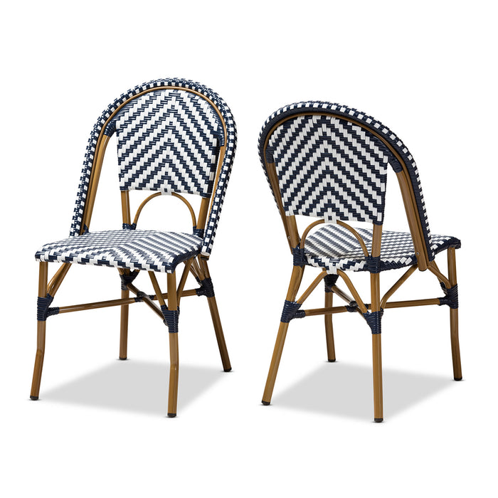 Baxton Studio Celie Classic French Indoor and Outdoor Grey and White Bamboo Style Stackable Bistro Dining Chair Set of 2 Baxton Studio-dining chair-Minimal And Modern - 1