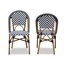 Baxton Studio Celie Classic French Indoor and Outdoor Grey and White Bamboo Style Stackable Bistro Dining Chair Set of 2 Baxton Studio-dining chair-Minimal And Modern - 2