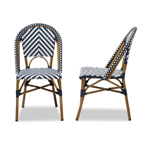 Baxton Studio Celie Classic French Indoor and Outdoor Grey and White Bamboo Style Stackable Bistro Dining Chair Set of 2 Baxton Studio-dining chair-Minimal And Modern - 3