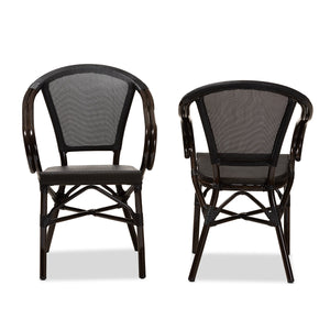 Baxton Studio Artus Classic French Indoor and Outdoor Black Bamboo Style Stackable Bistro Dining Chair Set of 2 Baxton Studio-dining chair-Minimal And Modern - 2