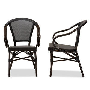 Baxton Studio Artus Classic French Indoor and Outdoor Black Bamboo Style Stackable Bistro Dining Chair Set of 2 Baxton Studio-dining chair-Minimal And Modern - 3