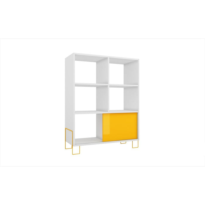 Accentuations by Manhattan Comfort Exquisite Boden Mid- High Side Stand with 6 Shelves and 1 Sliding Door in an White Frame and Yellow Door and Feet Manhattan Comfort-Stands and Side Tables- - 1