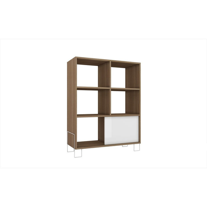 Accentuations by Manhattan Comfort Exquisite Boden Mid- High Side Stand with 6 Shelves and 1 Sliding Door in an Oak Frame and White Door and Feet Manhattan Comfort-Stands and Side Tables- - 1