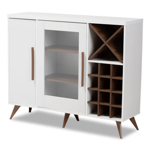 Baxton Studio Pietro Mid-Century Modern White and Brown Finished Wine Cabinet Baxton Studio-0-Minimal And Modern - 1