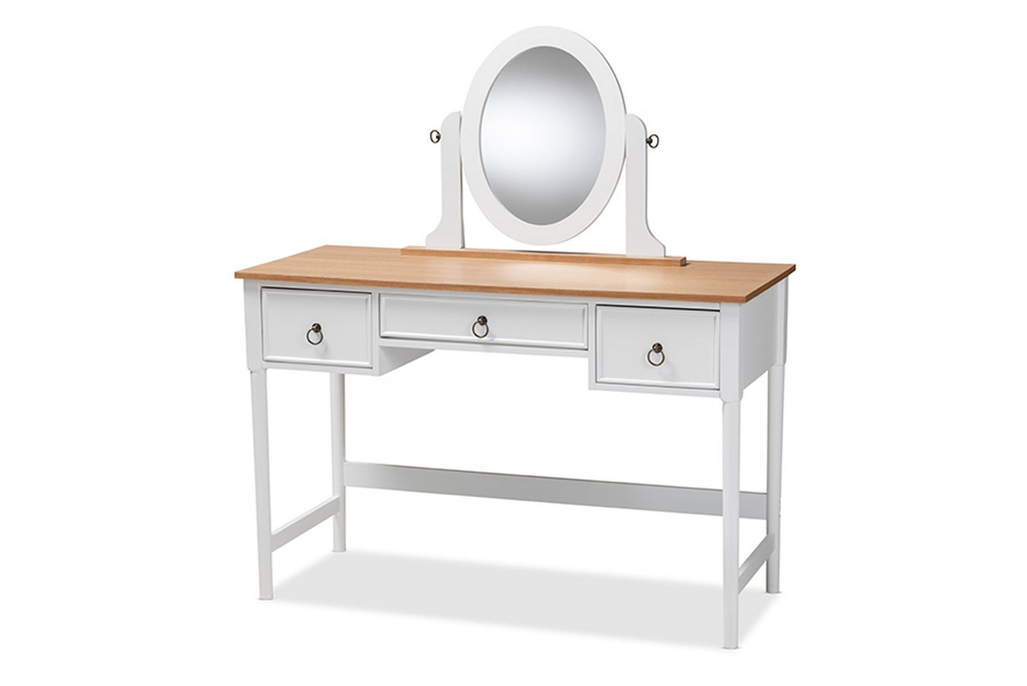 Baxton Studio Sylvie Classic and Traditional White 3-Drawer Wood Vanity Table with Mirror Baxton Studio-Armoires-Minimal And Modern - 1