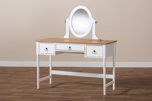 Baxton Studio Sylvie Classic and Traditional White 3-Drawer Wood Vanity Table with Mirror