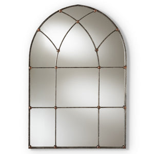 Baxton Studio Tova Vintage Farmhouse Antique Silver Finished Arched Window Accent Wall Mirror Baxton Studio-mirrors-Minimal And Modern - 1