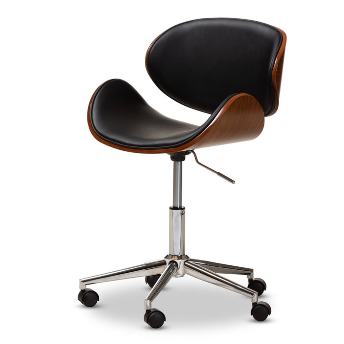 Baxton Studio Ambrosio Modern and Contemporary Black Faux Leather Upholstered Chrome-Finished Metal Adjustable Swivel Office Chair Baxton Studio-office chairs-Minimal And Modern - 1